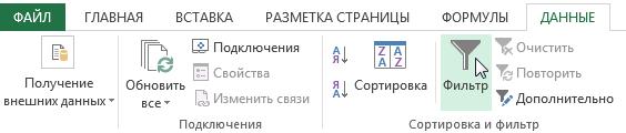 Фильтрация данных в Excel.