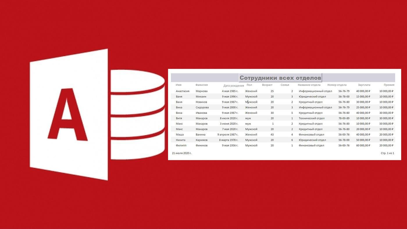Создание отчетов различными способами в СУБД Microsoft Access