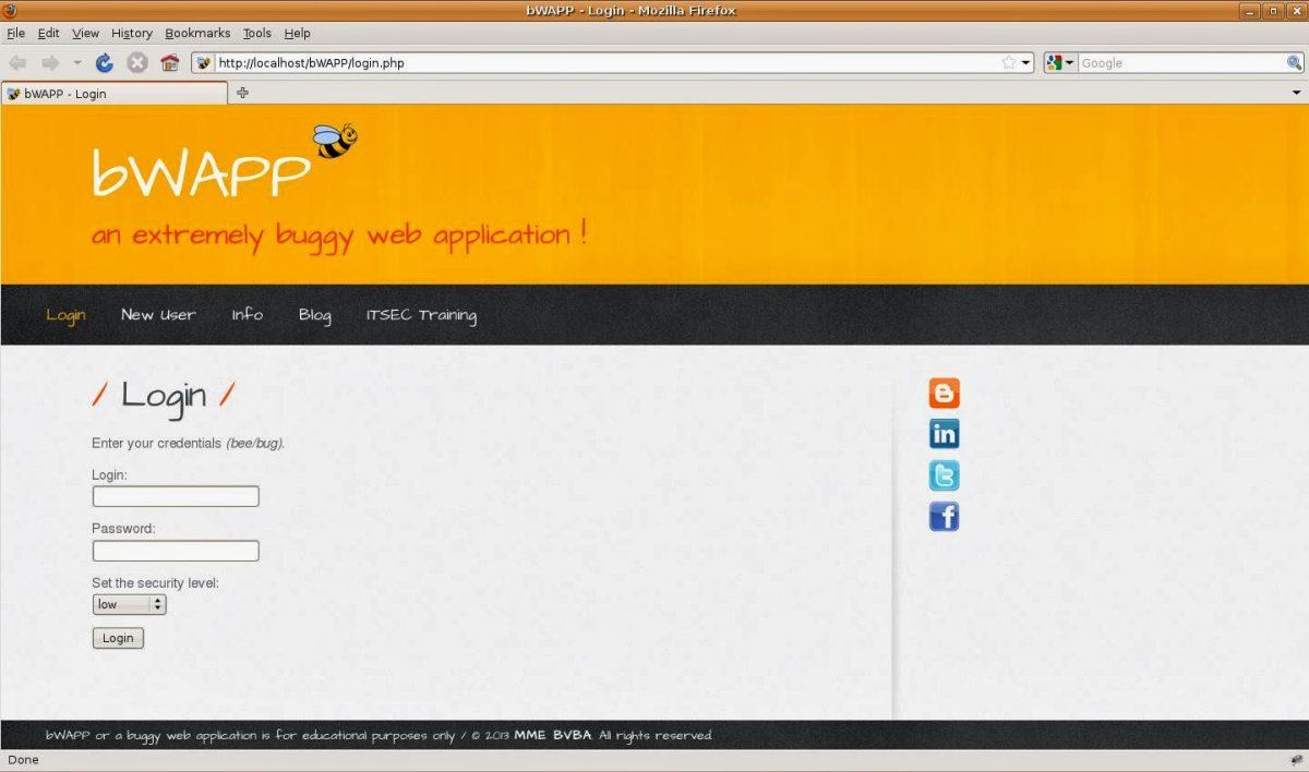 Установка площадки для тестирования веб-уязвимостей на локальный сервер
