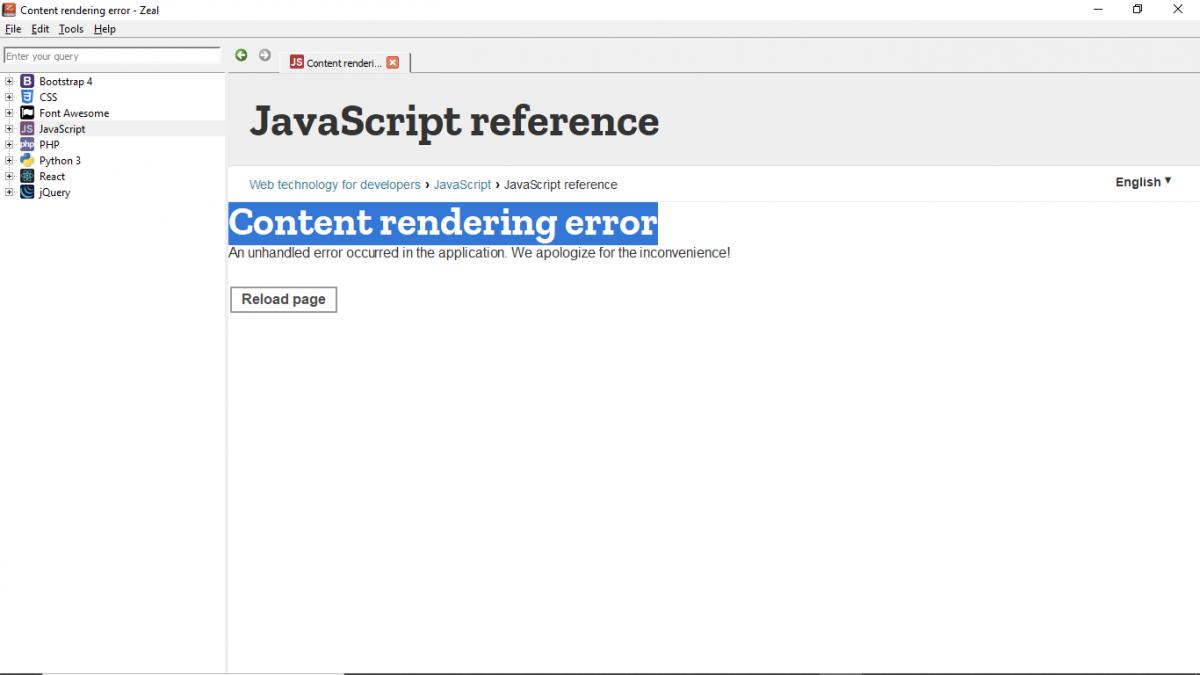 Решение проблемы в оффлайн браузере Zeal - Content rendering error